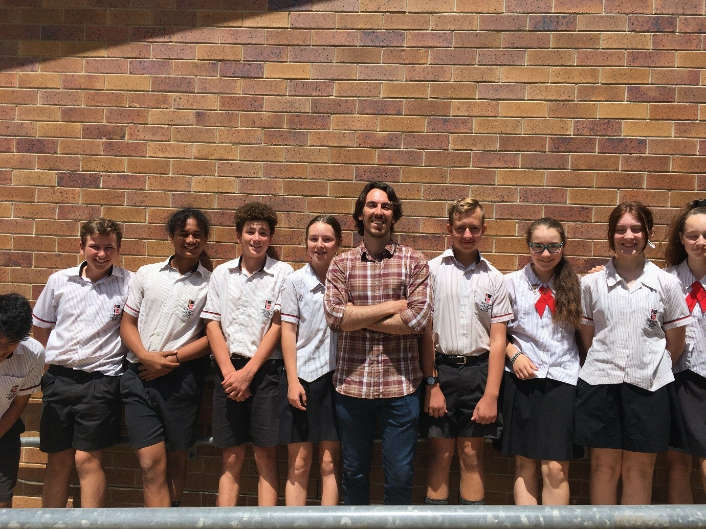 Lachlan Miller with yr 8 students